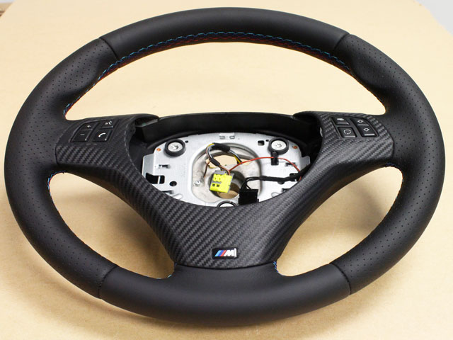 BMW 3 SERIES M3 E90 E92 E93 M SPORT LEATHER STEERING WHEEL M COLOR STITCHING CARBON LEATHER TRIM SWITCH PACK